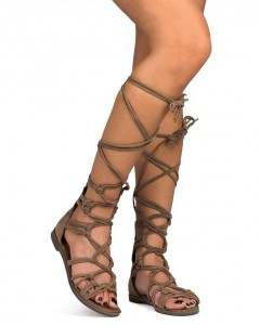 Lace-up sandals show leg in a good way