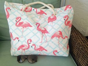 Flamingo beach bag/tote for weekends or resort vacations