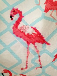 Flamingo beach bag/tote hand beading