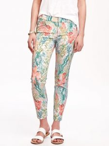 coral-print ankle pants