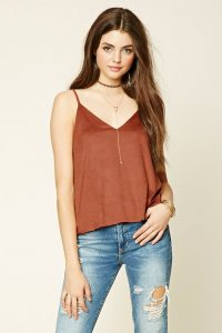 rust-colored faux suede cami