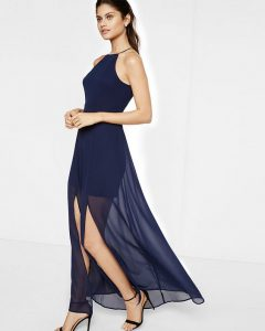 sheer-skirt maxi dress