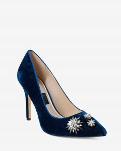 blue velvet pumps