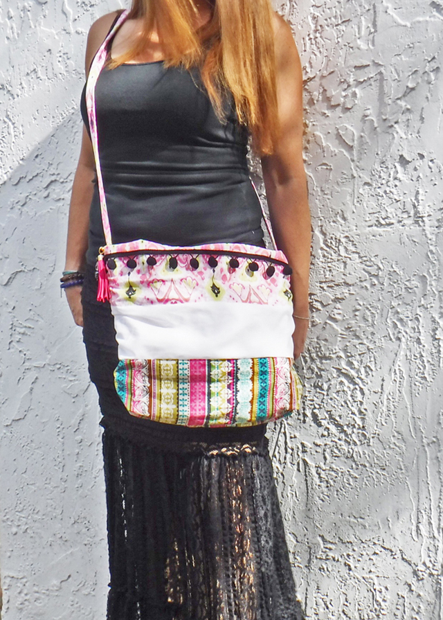 boho cross body bag with pompoms and tassel purse charm