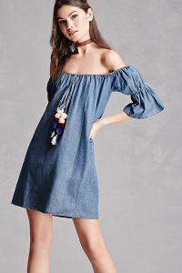 off-shoulder chambray dress