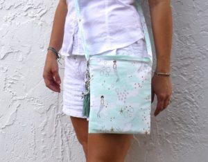 mermaid cross body bag with tassel keychain purse charm