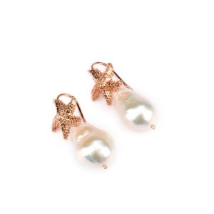 freshwater pearl and sea star earrings