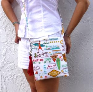 Hawaiian surf print cross body bag