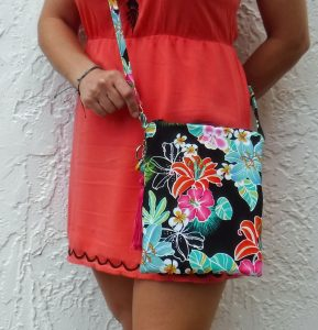 Hawaiian floral crossbody bag