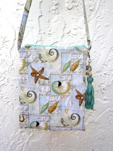 seashell print crossbody bag